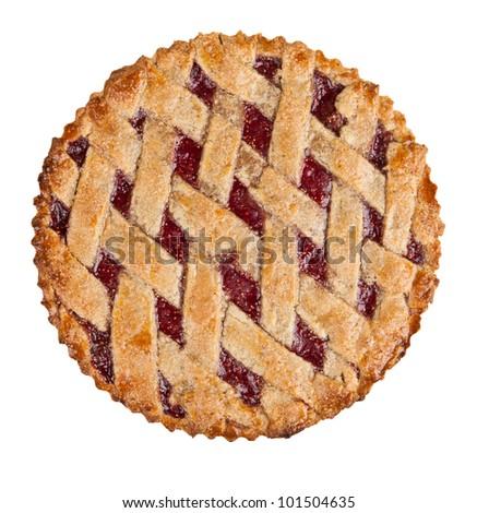 homemade crust pie isolated on white - stock photo