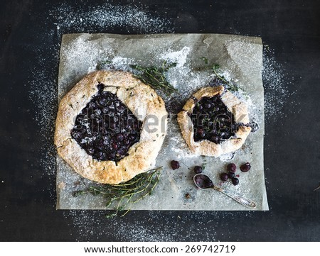 Homemade crusty blueberry pie or galette with ice-cream and herbs - stock photo