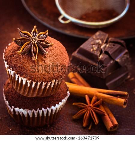 Homemade cupcakes, cocoa powder, star anise, cinnamon and dark chocolate. Selective focus - stock photo