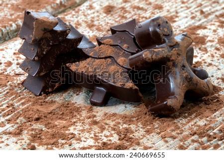 Homemade dark chocolate - stock photo