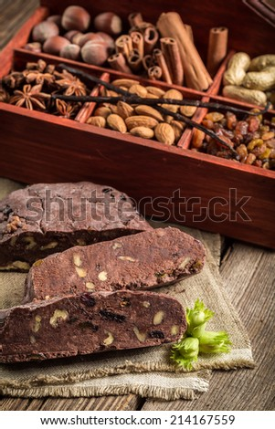 Homemade dark chocolate with nuts - stock photo