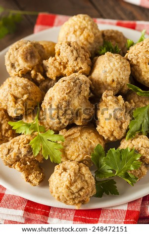 Homemade Deep Fried Mushrooms with Dipping Sauce - stock photo