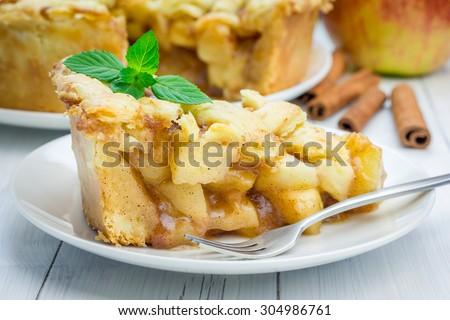 Homemade delicious apple pie with lattice pattern - stock photo