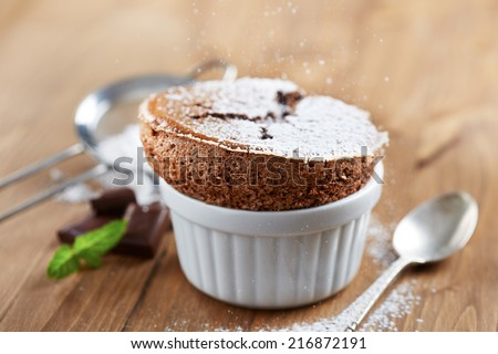 Homemade delicious individual chocolate souffle - stock photo