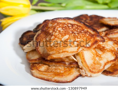 Homemade delicious pancakes with apples