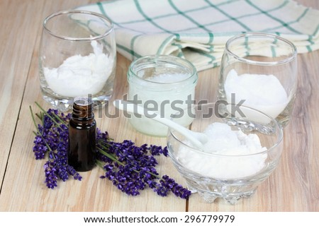 Homemade deodorant made from coconut oil, sodium bicarbonate, starch and lavender flavor - stock photo