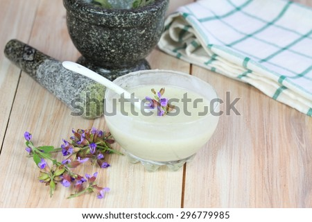 Homemade deodorant made from coconut oil, sodium bicarbonate, starch and sage  - stock photo