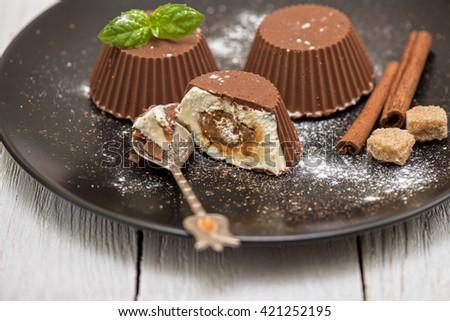 Homemade dessert from cream and chocolate - stock photo