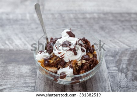 Homemade Dessert With Whiped Cream and Chocolate  - stock photo