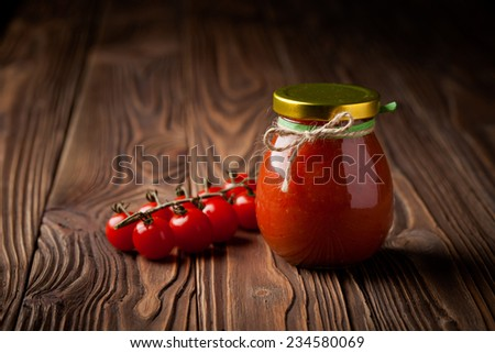 Homemade DIY natural hot tomatoes sauce chutney with chilli