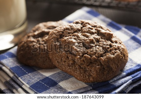 Homemade Double Chocolate Chip Cookies on a Background - stock photo