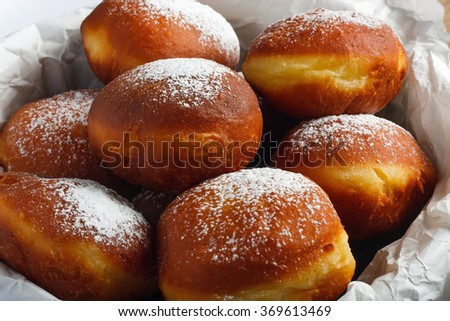 Homemade doughnuts filled with rose marmalade - stock photo
