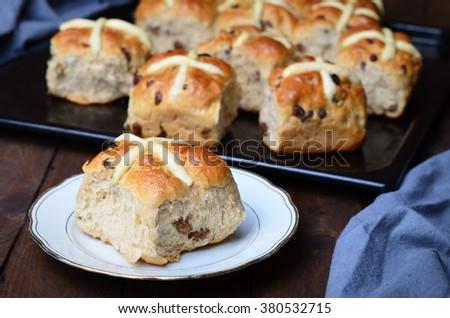 Homemade Easter Hot Cross Buns  - stock photo