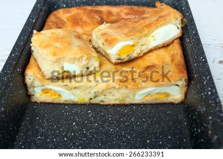Homemade Egg Pie - stock photo