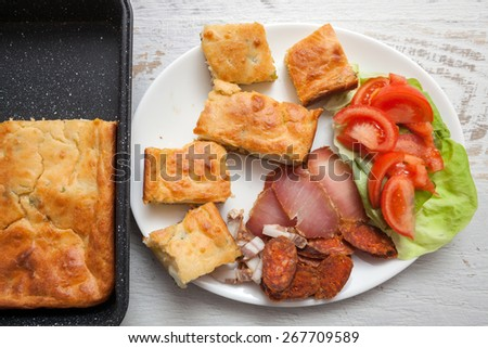 Homemade Egg Pie with Sasuages and Vegetables - stock photo