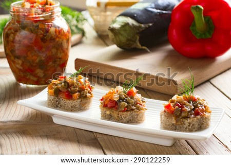 Homemade eggplant caviar - traditional appetizer of Russian cuisine - stock photo