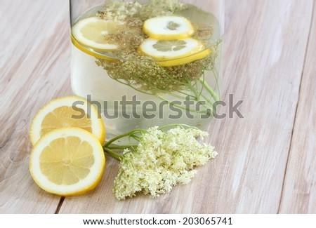 Homemade elderflower lemonade - stock photo
