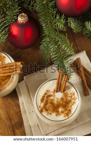 Homemade Festive Cinnamon Eggnog for the Holidays - stock photo