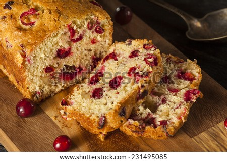 Homemade Festive Cranberry Bread with Fresh Berries - stock photo
