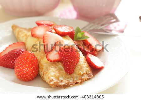 Homemade French confectionery, strawberry crepe