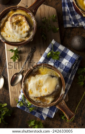 Homemade French Onion Soup with Cheese and Toast - stock photo