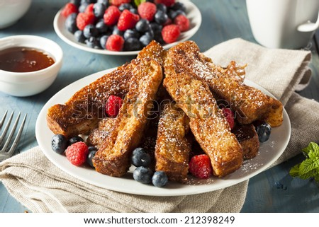 Homemade French Toast Sticks with Maple Syrup - stock photo