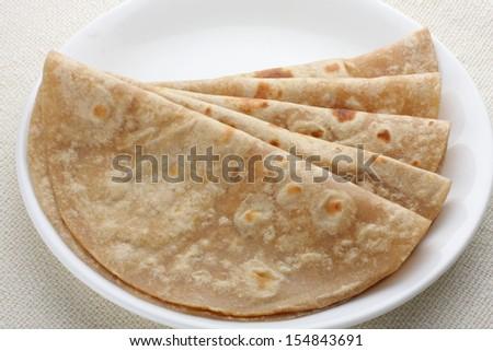 Homemade fresh wheat flour Chapathi. - stock photo