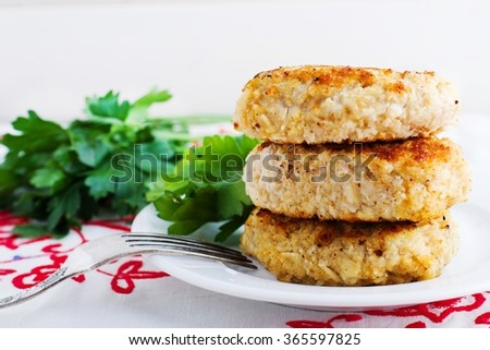 homemade fried cutlets.selective focus - stock photo