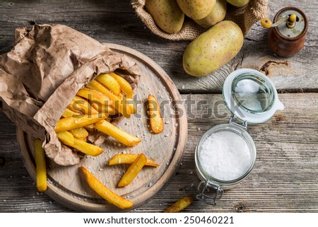 Homemade fries made of fresh potato - stock photo