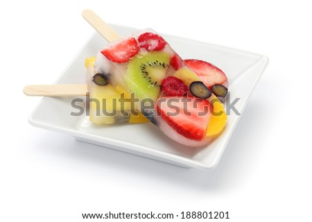 homemade fruit ice pop, popsicle - stock photo
