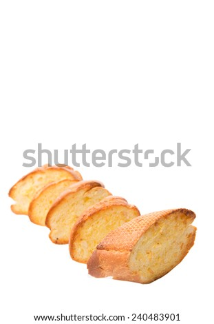 Homemade garlic bread of French baguette  over white background