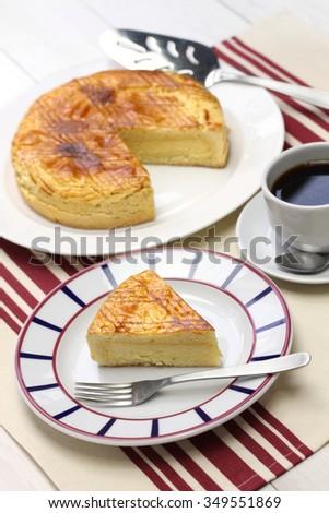 homemade gateau basque, tea time - stock photo