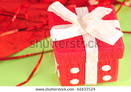 homemade gift box by festive wrapping - stock photo