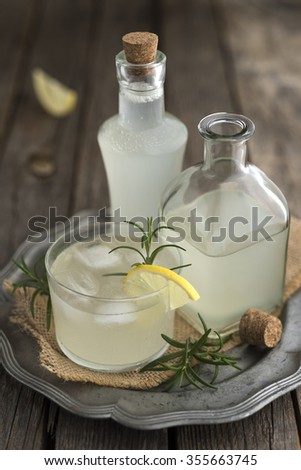 Homemade ginger beer with lemon and rosemary
