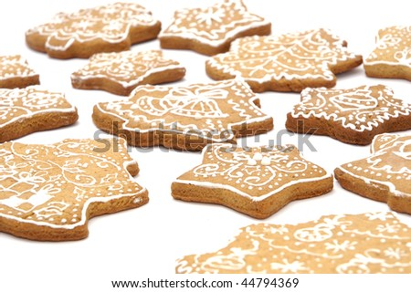 Homemade gingerbread christmas cookies stars and trees - stock photo