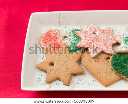 Homemade gingerbread cookies on a plate. - stock photo