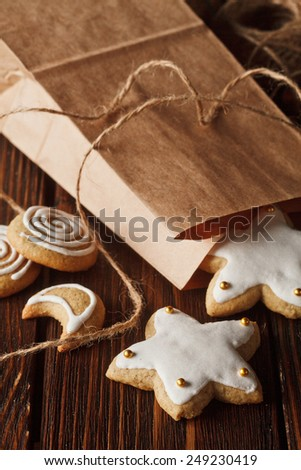 homemade gingerbread cookies on wooden background