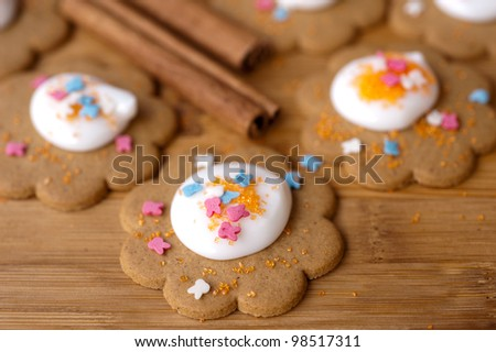 Homemade gingerbread cookies with  icing - stock photo