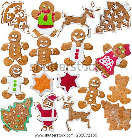 Homemade gingerbread cookies with the inherent imperfections - isolated - stock photo