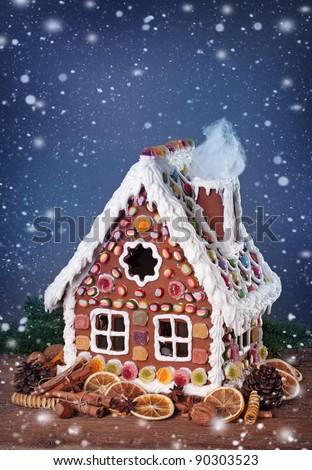 Homemade gingerbread house and christmas spices - stock photo