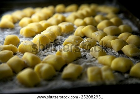 Homemade Gnocchi Pasta Resting on Cookie Sheet - stock photo