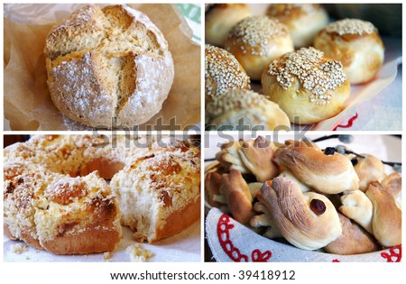 Homemade golden pastry collage - Irish bread, bread with sesame seeds, apricot pie, skylarke cookies - four photos - stock photo