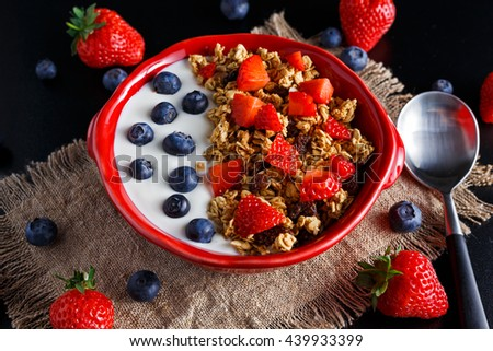 Homemade granola Breakfast with yogurt and fresh fruit berries. concepts health food - stock photo