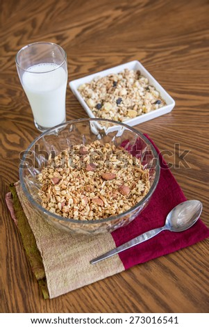 Homemade granola on wood table