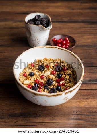 Homemade granola or muesli with toasted peanuts, blackberry and black and red currant in a bowl for healthy breakfast, selective focus - stock photo