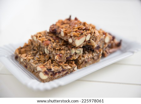 Homemade granola protein bars - stock photo