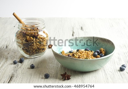 Homemade granola with dried cranberry
