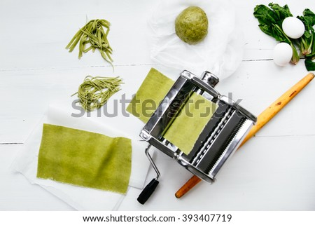 homemade green pasta with spinach
