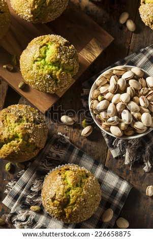 Homemade Green Pistachio Muffins Ready to Eat - stock photo