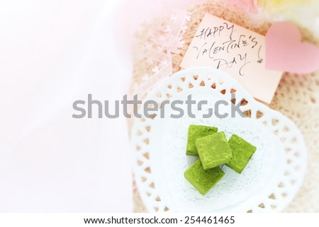 homemade green tea chocolate macha ganache for valentine's day - stock photo